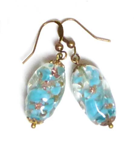Blue Art Deco crystal drop earrings