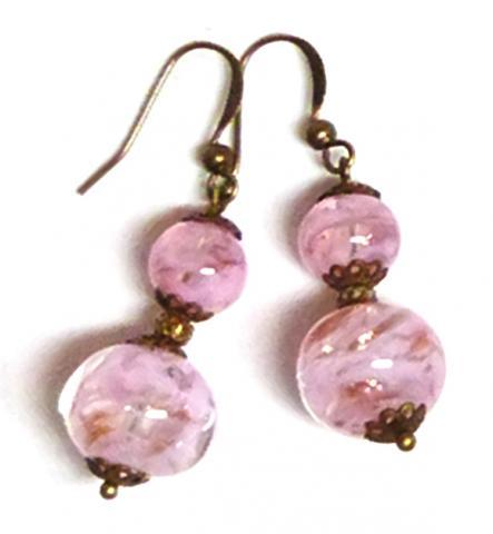 Pink Venetian Sommerso bead earrings