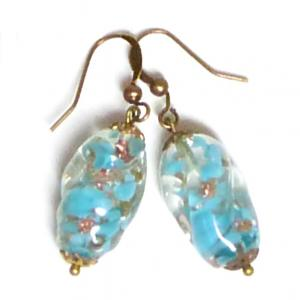 Aqua vintage Venetian Sommerso bead drop earrings