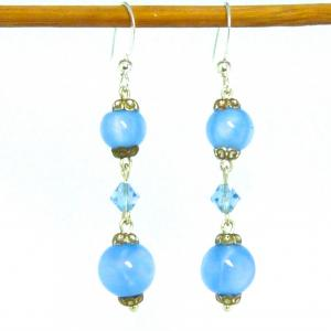 Blue art deco satin glass and crystal earrings