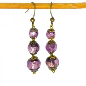 Purple Art Deco foil bead earrings