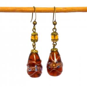 Vintage Venetian amber glass wedding cake bead earrings