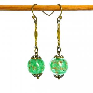 Green art deco sommerso bead earrings