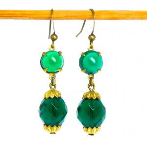 Deep green and gold tone art deco facetted glass bead earrings