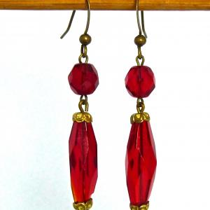 Ruby red art deco facetted glass bead drop earrings