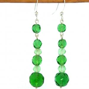 Two tone green art deco facetted glass bead drop earrings