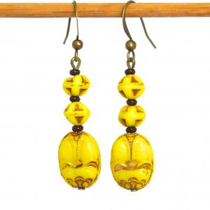 Art Deco Czech yellow Max Neiger scarab bead earrings