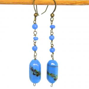 Lilac/ blue Venetian Murano end of day splatter glass bead earrings