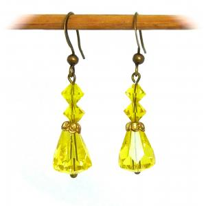 Sparkly bright yellow art deco crystal drop earrings