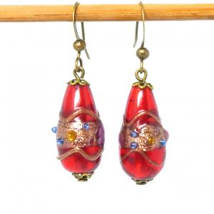 Vintage Venetian red glass wedding cake bead earrings
