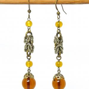 Amber glass and silver tone bead earrings from Bengel components