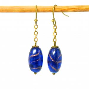 Bristol blue art deco Venetian glass feathered adventurine bead earrings