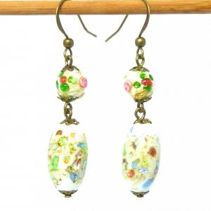 Multicoloured art deco foiled glass and wedding cake bead earrings