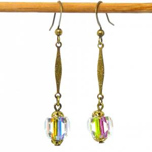 Art deco Czech Iris / Rainbow glass and brass link earrings