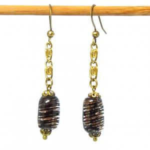 Vintage venetian tiger stripe sommerso and aventurine bead earrings