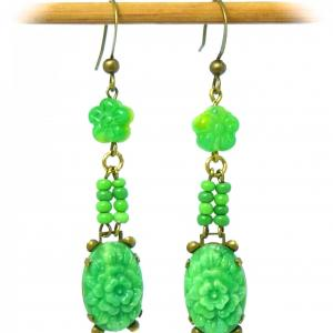 Vintage 1930s Czech lime green pressed glass flower bead & gold tone earrings