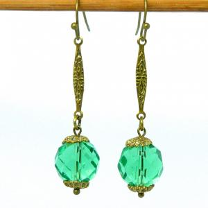 Art deco green facetted crystal and brass earrings