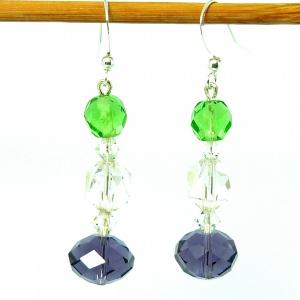 Art deco suffragette coloured glass bead earrings