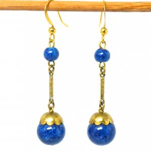 Art deco blue lapis glass bead drop earrings