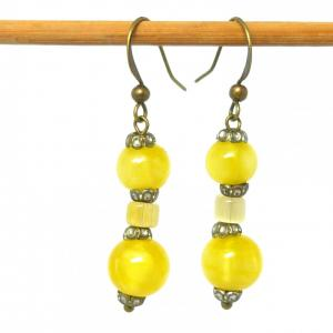 Yellow art deco satin glass bead earrings