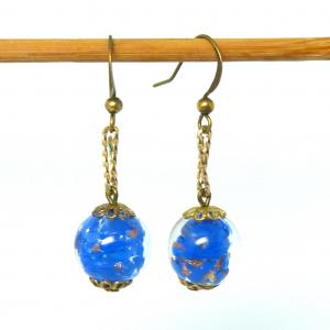 Blue vintage venetian sommerso and rolled gold earrings
