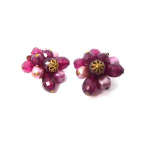 Original vintage pink cluster clip on gold tone earrings made in W Germany