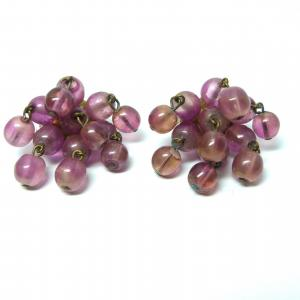 Otiginal vintage 1950s pink dangle bead and gold tone clip on earrings