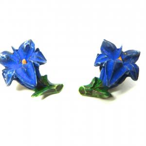 Original vintage gentian flower clip on earrings