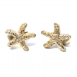 Original vintage gold tone starfish clip on earrings