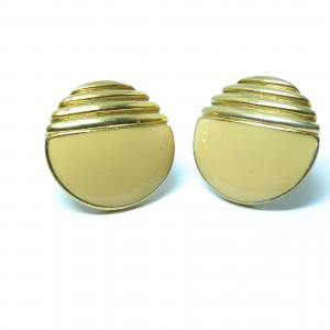 Original vintage cream enamel and gold tone clip on earrings