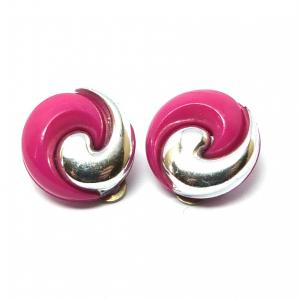 Original vintage pink and silver tone clip on earrings