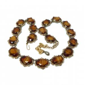 Vintage 1950s Sphinx yellow amber Venetian glass open set bead link necklace
