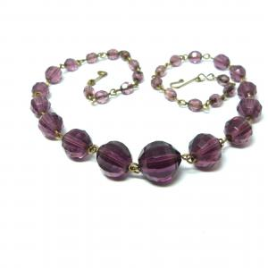 Original art deco purple facetted glass and rolled gold necklace