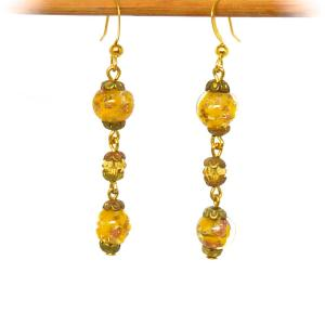 Deep yellow Venetian Sommerso and amber glass bead earrings