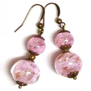Pink Vintage Venetian Sommerso bead earrings
