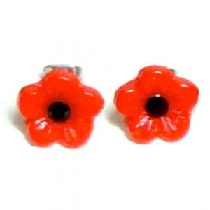 Vintage 1940s red poppy flower glass bead & vintage Swarovski stud earrings