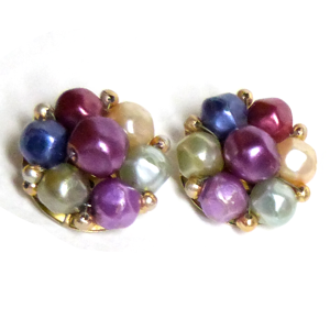 Original vintage 1950s faux pearl cluster clip on gold tone earrings marked Hong Kong