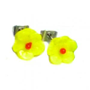 Art deco yellow & red glass flower bead stud earrings